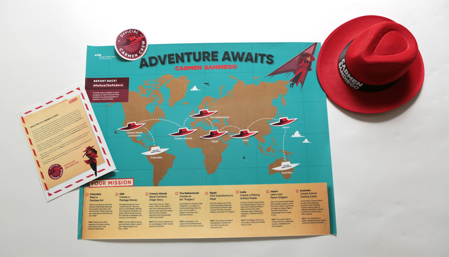 Carmen Sandiego Activity Map with Action Guide Packet, and CSD stickers