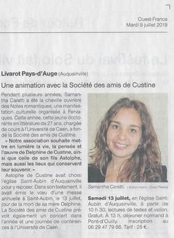 Ouest France. 9 Juillet 2019.