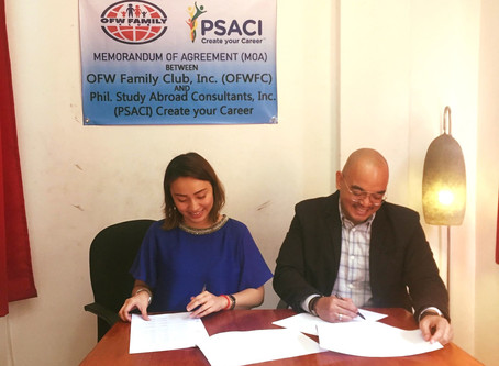 PSACI signs MOA with OFW Family Club