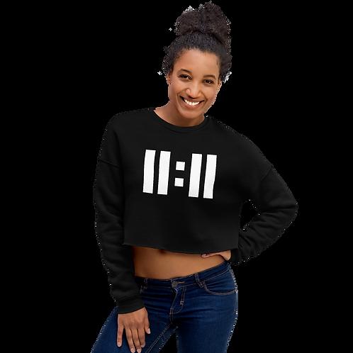 11|Eleven White Logo Crop Sweatshirt
