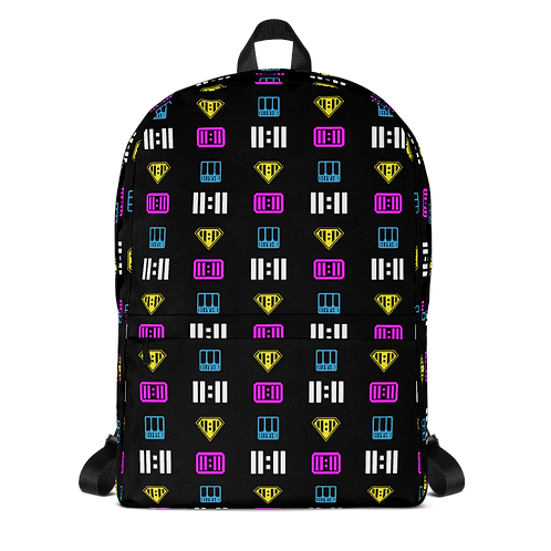 11|Eleven Mash-able Black All Over Print Backpack