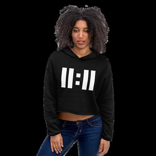 11|Eleven White Logo Crop Hoodie