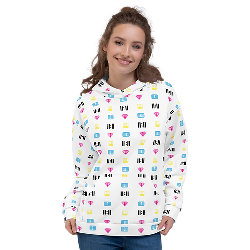 11|Eleven Mash-able White All Over Print Hoodie