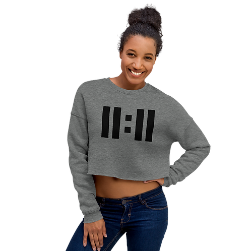 11|Eleven Black Logo Crop Sweatshirt