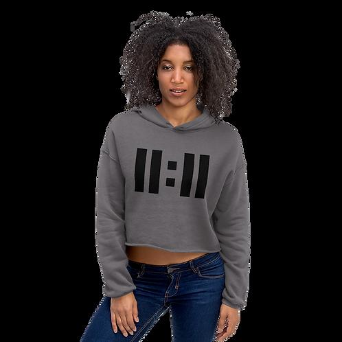 11|Eleven Black Logo Crop Hoodie