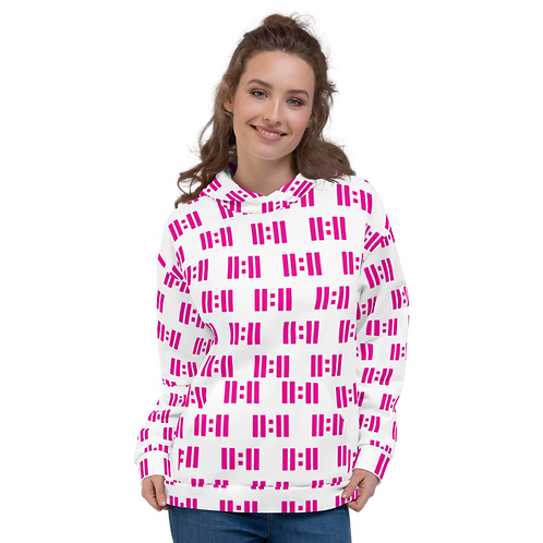 11|Eleven Magenta Logo White All Over Print Hoodie
