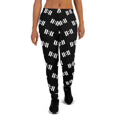 11|Eleven White Logo All Over Print Women's Joggers