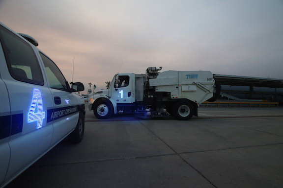 Lighted number on airport sweeper