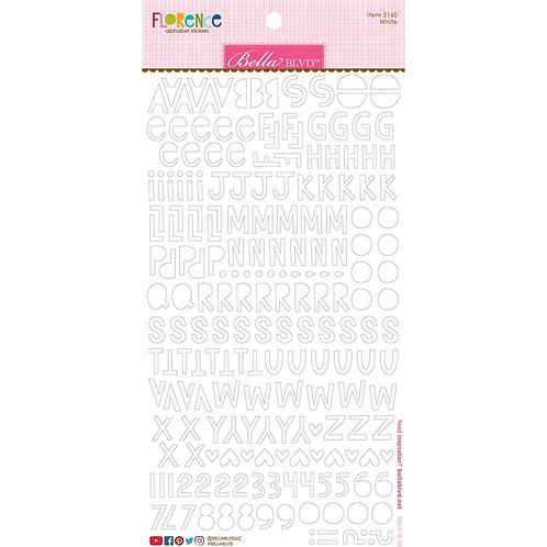 Bella Blvd. Cardstock alphabet sticker sheet in White