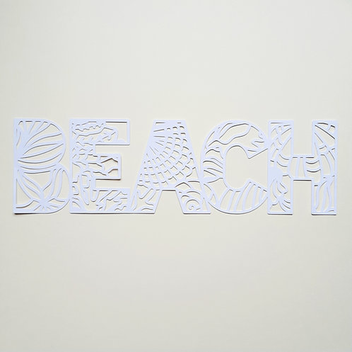 Beach title by Paige Evans pre-cut cut file