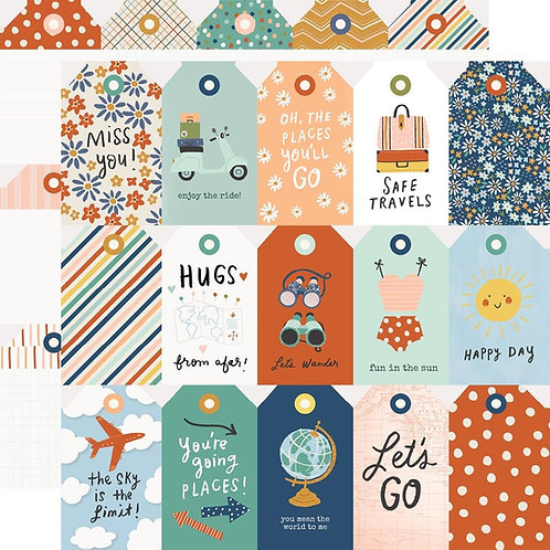 Simple Stories Safe Travels Tags Patterned Paper