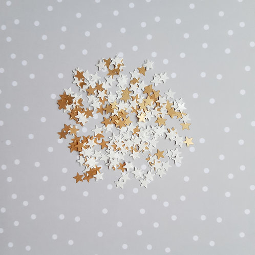 Gold and White Miniature Stars Sequin Mix