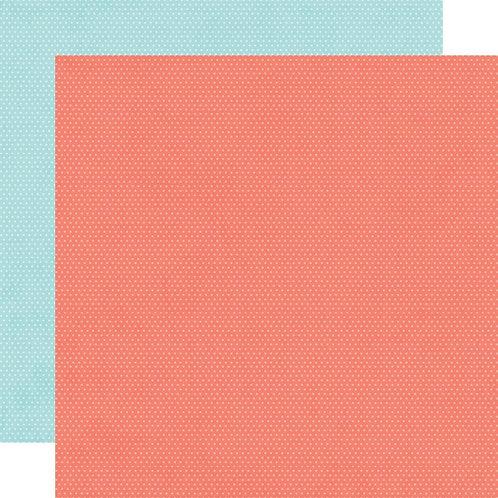 Simple Stories Hey Crafty Girl Salmon/Sky Simple Basics paper sheet
