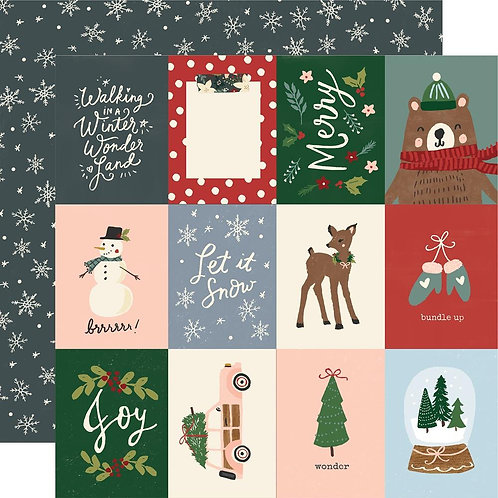 Simple Stories Winter Cottage 3x4 Elements Patterned Paper Sheet