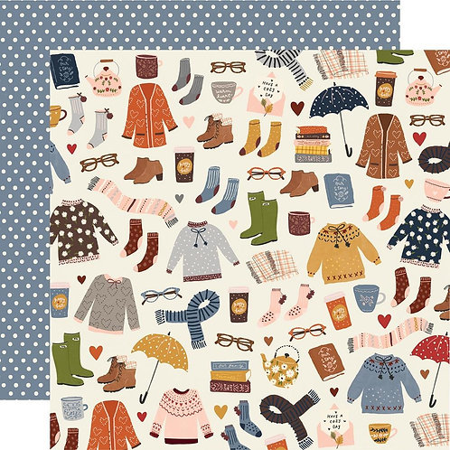 Simple Stories Cozy Days Sweaters and Boots Patterned Paper