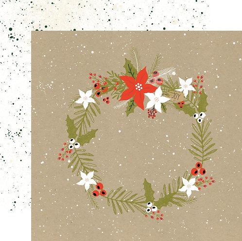 Christmas Wreath Custom Patterned Paper Sheet