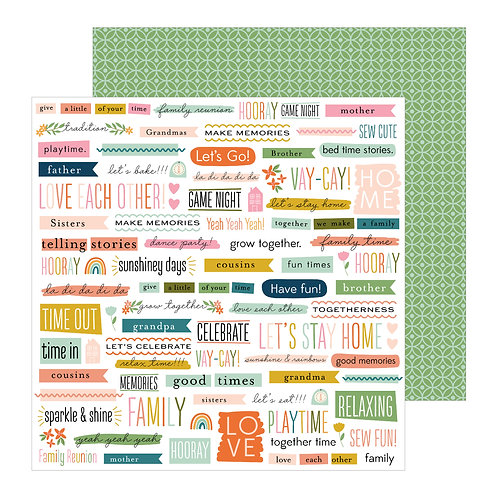 Jen Hadfield This Is Family Patterned Paper Sheet -Bits and Pieces