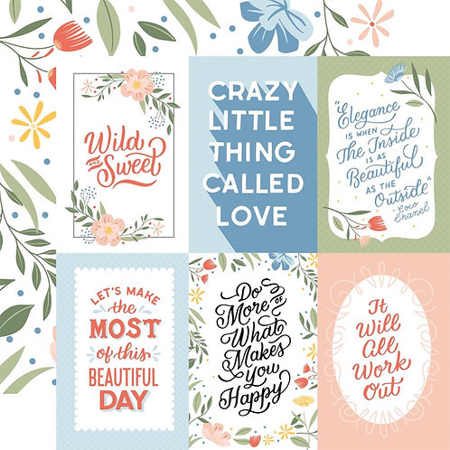 Echo Park Salutations 6x4 Journalling Cards patterned paper sheet