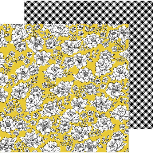 Jen Hadfield Hey Hello - Yellow Roses patterned paper sheet