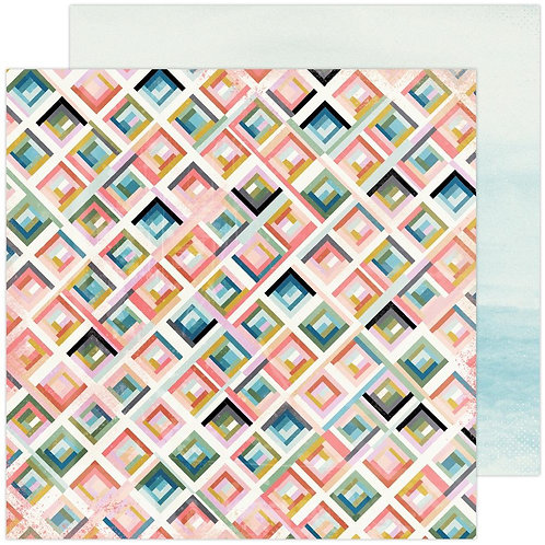 Heidi Swapp Old School Double-Sided Patterned Paper Sheet City Grid