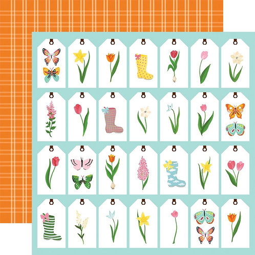 Echo Park I Love Spring, Spring Tags patterned paper sheet