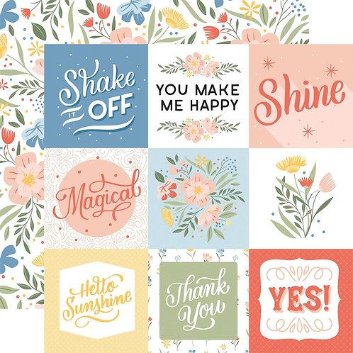 Echo Park Salutations 4x4 Journalling Cards patterned paper sheet