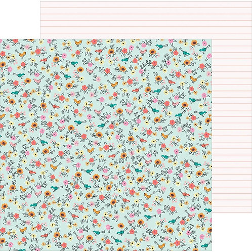 Pebbles Hey Hello Birdies patterned paper sheet