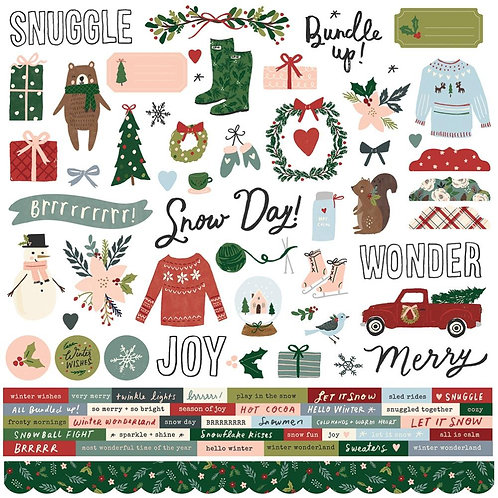 Simple Stories Winter Cottage 12x12 stickers sheet