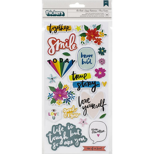 Amy Tangerine Brave and Bold Be Brave phrase Thickers stickers