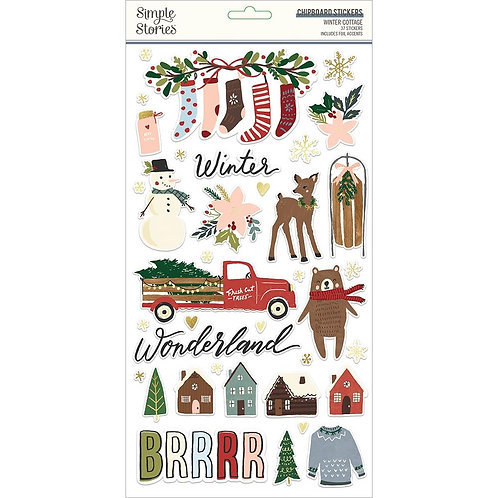 Simple Stories Winter Cottage Chipboard Stickers