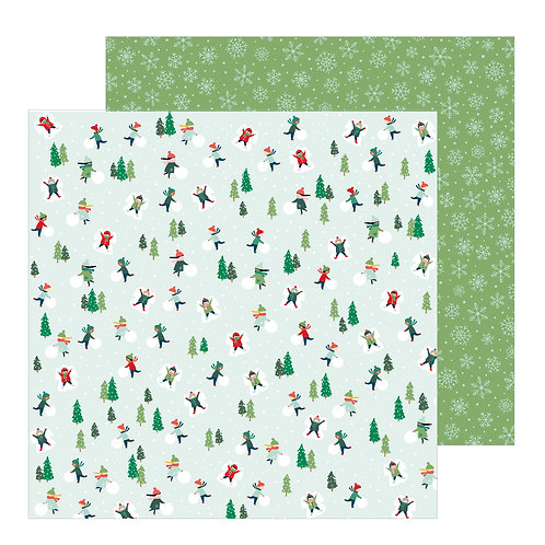 Pebble Merry Little Christmas Snowday patterned paper sheet