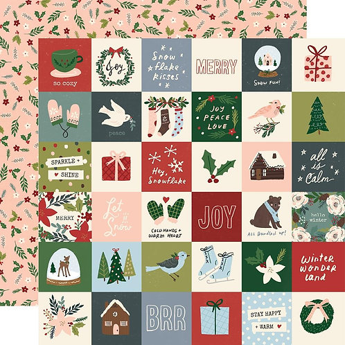 Simple Stories Winter Cottage 2x2 Elements Patterned Paper