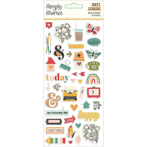 Simple Stories Hello Today puffy stickers pack