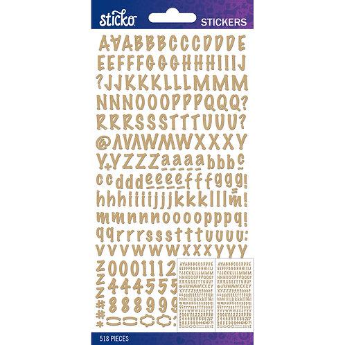 Sticko Kraft alphabet stickers pack