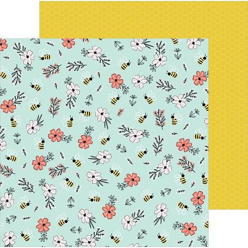 Jen Hadfield Hey Hello - Bee Blossoms patterned paper sheet