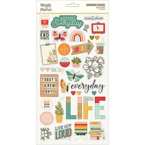 Simple Stories Hello Today Chipboard Stickers