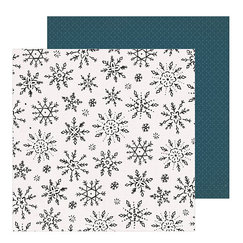 Crate Paper Snowflake Winterscape Patterned Paper Sheet