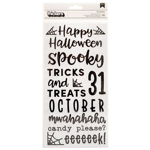 Pebbles Spoooky Phrase Thickers stickers pack