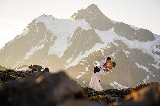 Epic sunrise kiss in the North Cascades