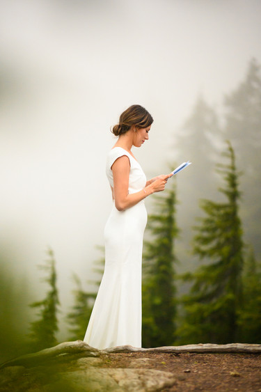 Sunset vows during Mt. Baker Elopement