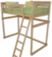 Item 3300 Twin Mission Loft Bed w Side L