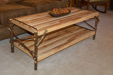 Item 2080 Hickory Coffee Table w Shelf -