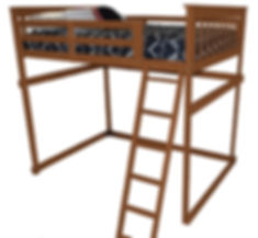 Item 3310 Full Mission Loft Bed w Side L