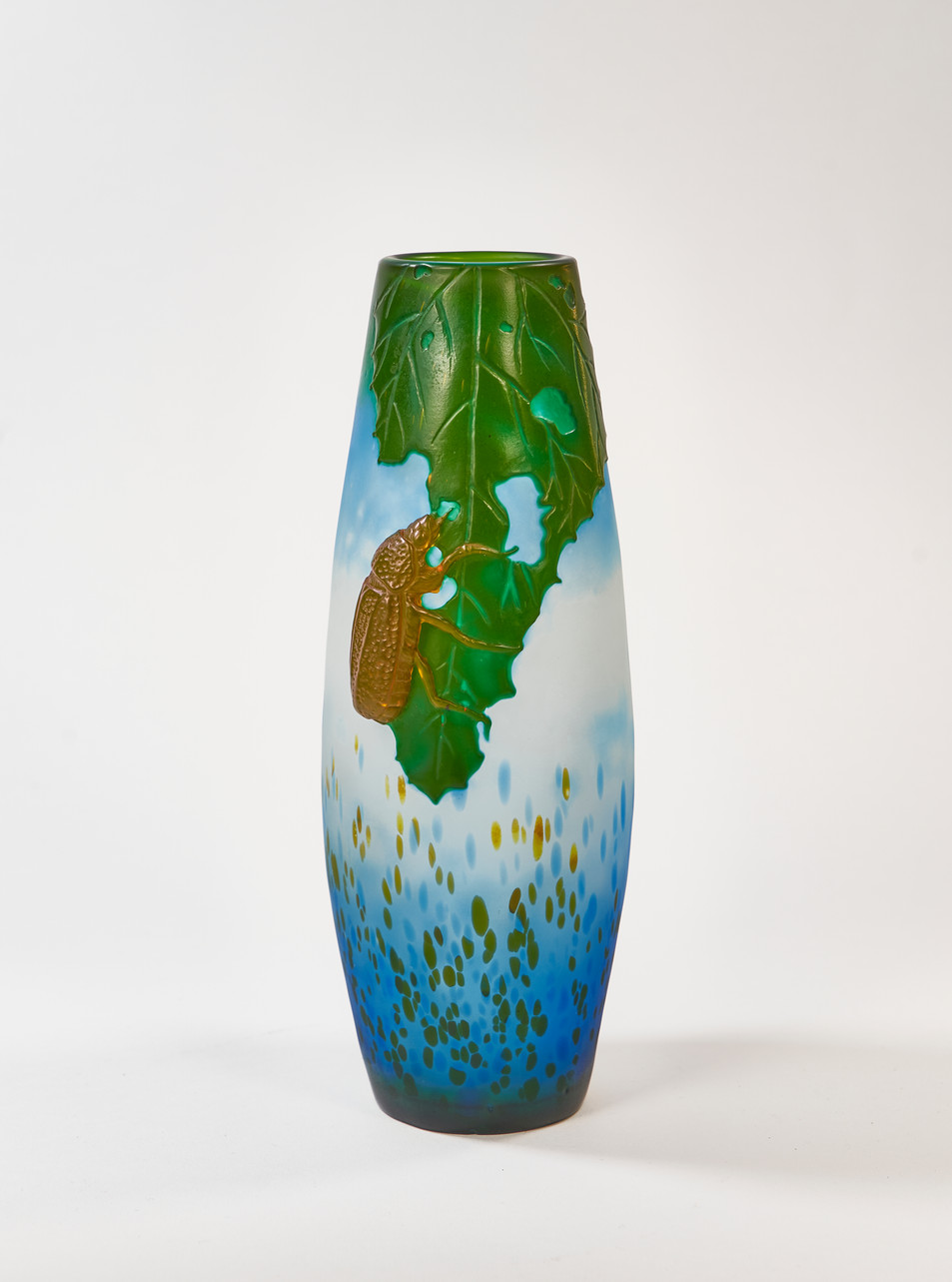 "Koting Studio - ""Beetle"" Cameo / Carved Glass Vase"
