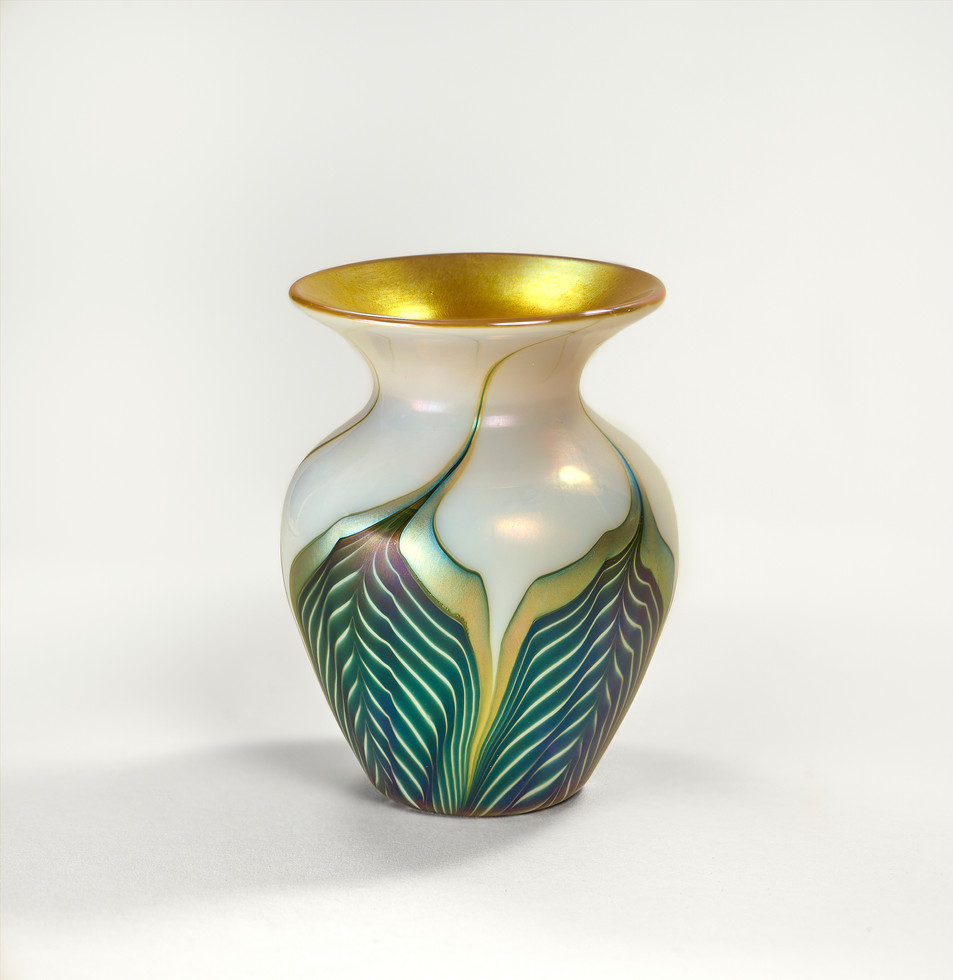 Iridescent Pulled Feather Vase