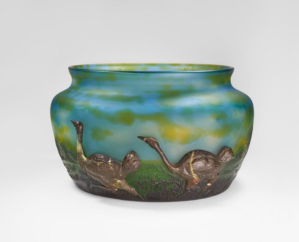 "Koting Studio - ""Ostrich"" Cameo / Carved Glass Vase"