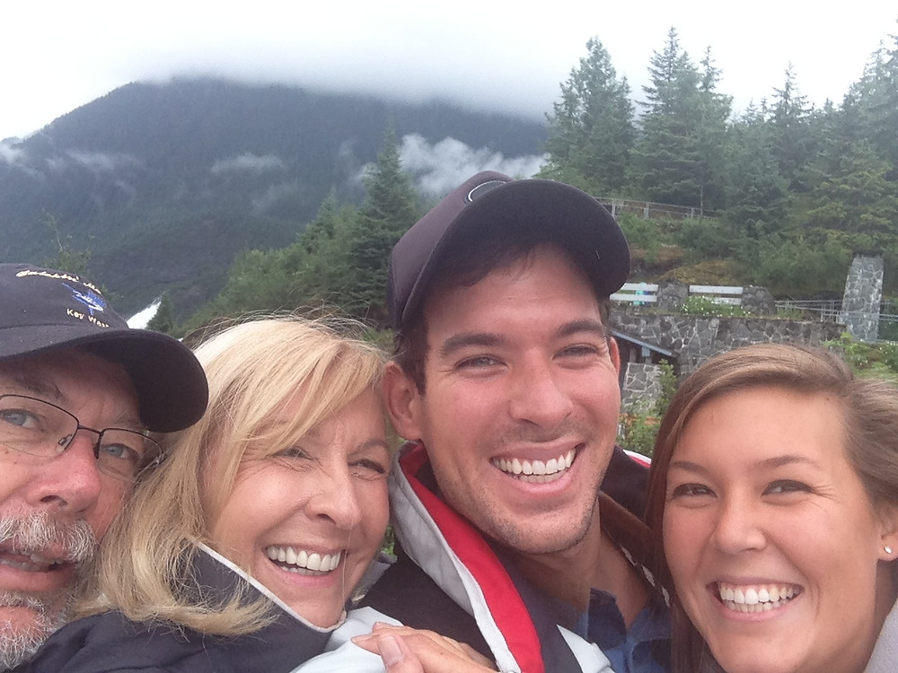 Family in front of Mendenhall Glacier