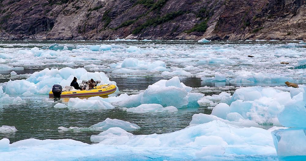 Dingy in Icebergs Sawyer glacier