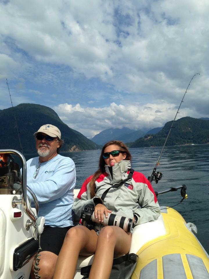 Cruising in boat Dent Island BC