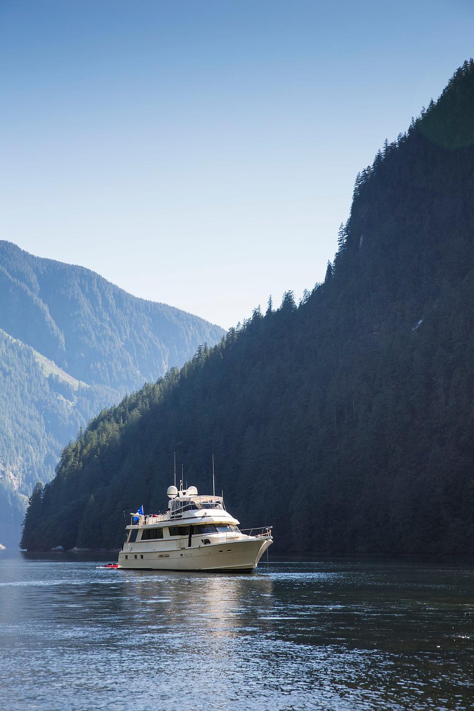 Yacht in Princess Louisa Inlet, BC